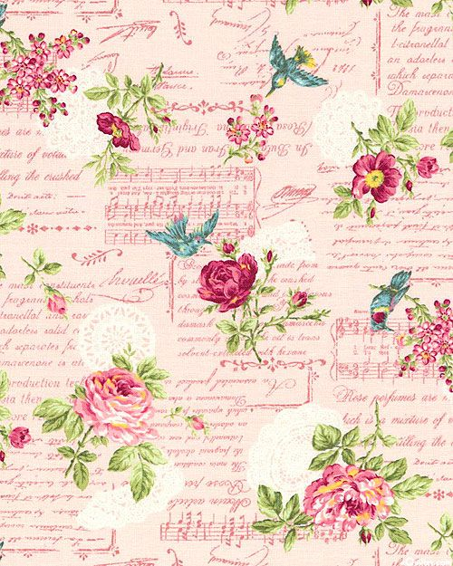 Roses on pink paper, birds, music, writing