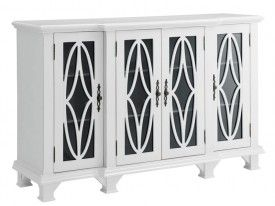 Accent Cabinets Large White Bring a clean, transitional look and feel to your home with this large white cabinet. Grandly scaled, it has four glass doors with shelving behind. Each glass cabinet door features detailed wood carvings on the front for an eye-catching design with spunk. There are nine shelves total, offering plenty of space for your book collection, photo albums, movies, or whatever else you may have that needs to be tucked away behind closed doors. Traditionally styled hardware…