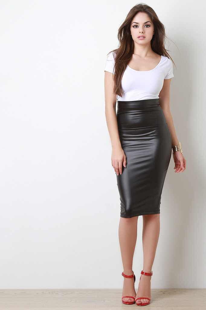 Vegan Leather Midi Pencil Skirt  www.trendyblvd.com