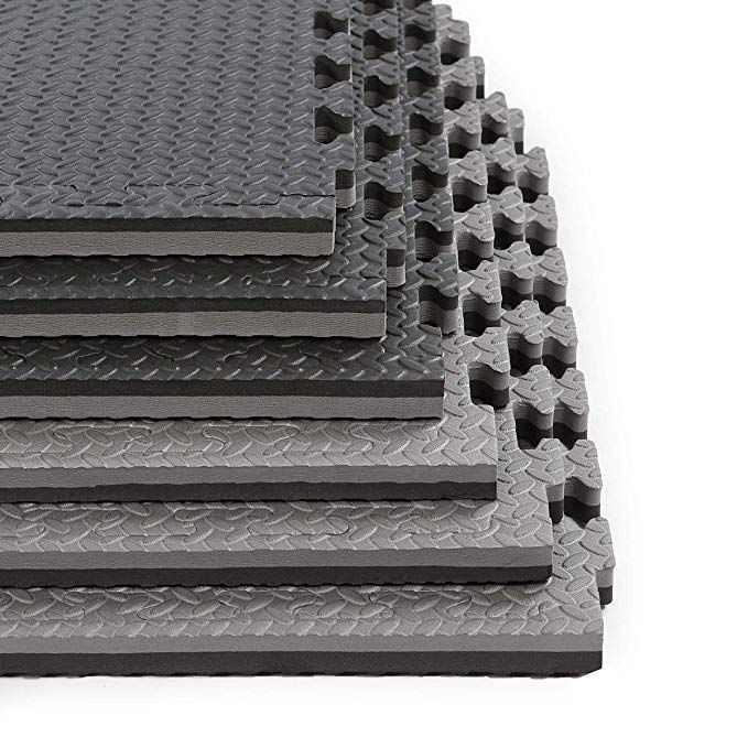 Clevr 1 Extra Thick Reversible Interlocking Eva Gym Foam Floor Mat Tiles 24 X 24 Protective Flooring For Gym E Foam Flooring Foam Mat Flooring Floor Mats