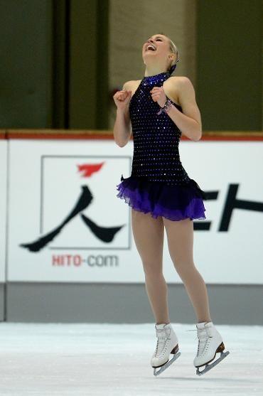 Ashley Cain, Ladies short at Nebelhorn Trophy 2013  - Black Figure Skating / Ice Skating dress inspiration for Sk8 Gr8 Designs