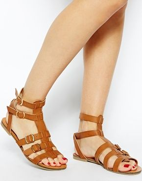 Image 4 ofNew Look Wide Fit Multi Strap Hickery Gladiator Flat Sandals