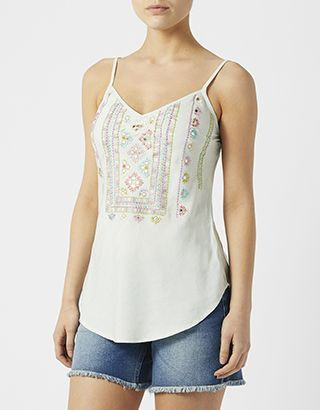 Embrace this season's embroidery trend with our Effie tencel cami top. Alongside its beautiful multi-coloured needlework, this V-neck design features light-r...