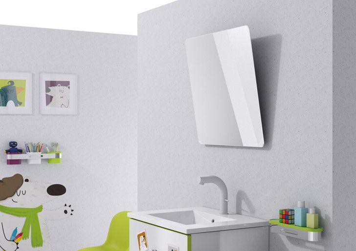 Beach and Sea Kids Bathroom Ideas: Cool Modern Minimalist Kids Bathroom Ideas Fith Cartoon Wallpaper Theme With Square Mirror And White Tub Decorating Inspiration ~ boholmain.com Bathroom Design Inspiration