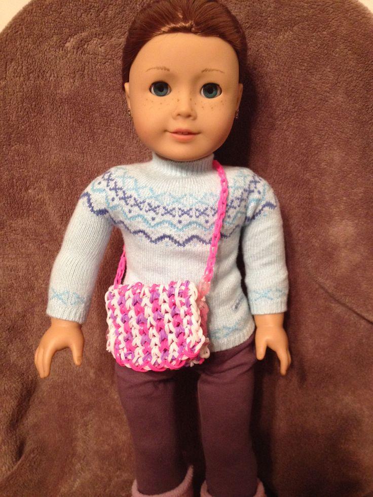 Cute rainbow loom purse for American girl doll