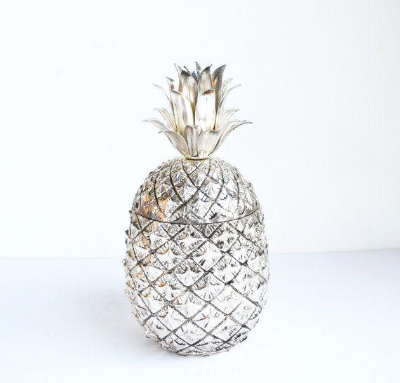 Vintage Silver Pineapple Ice Bucket Anana Italia Ice Bucket Mauro Manetti Mid Century Hollywood Glam Barware Pina Colada Ice Chest | #pineapple