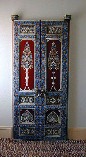 Painted doors in hotel room  at La Manounia. Marrakech, Morocco photo taken by Alina Hagen