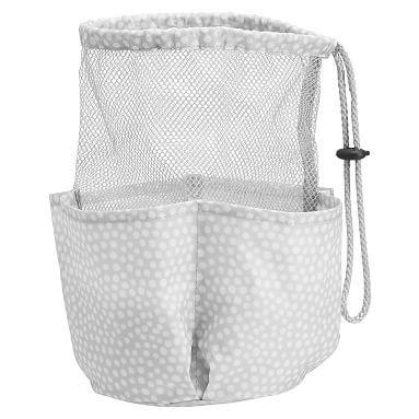 Drawstring Hanging Shower Caddy, Gray Mini Dot