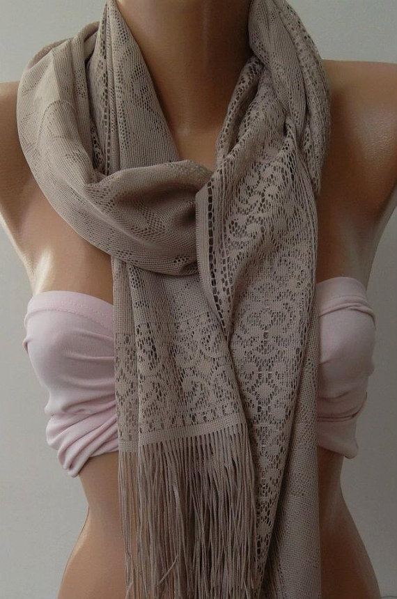 Stone Color   Elegance  Shawl / Scarf with Lacy Edge by womann, $19.90