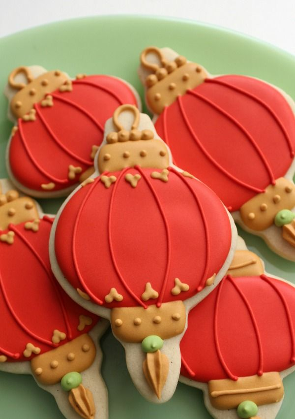 Chinese Lantern Cookies although they look more like Christmas ornaments if colored any other color but orange
