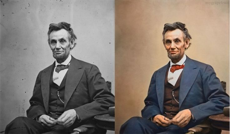 Abraham Lincoln, colourized; source: http://flashingformoney.wordpress.com/2012/09/19/adding-colour-to-the-most-iconic-photographs-of-all-time/screen-shot-2012-09-19-at-2-44-24-pm/