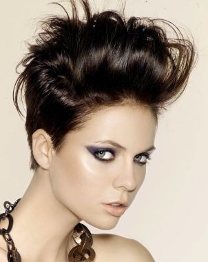 A medium brown straight updo messy quiff Rock-Chick hairstyle for shorter hair - great for festivals and concerts