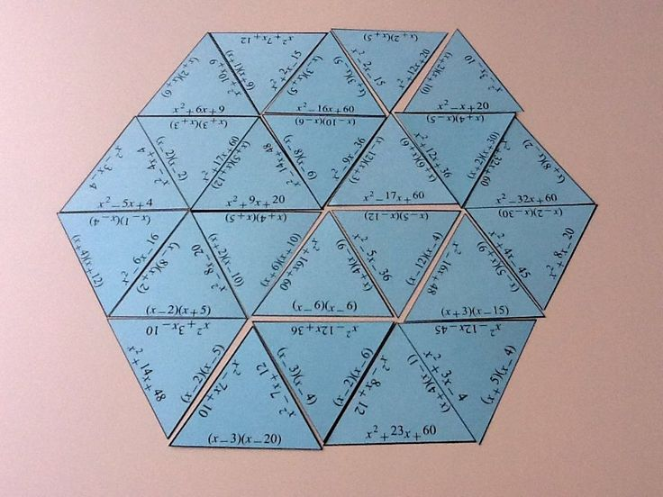 printable factoring trinomials and exponents puzzles--tarsia