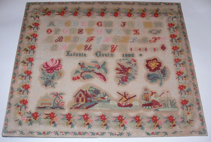 An Early 20th Century FRENCH Sampler Stitched By Lenoie Gouix & Dated 1905