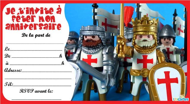 Invitation anniversaire playmobil chevalier 3