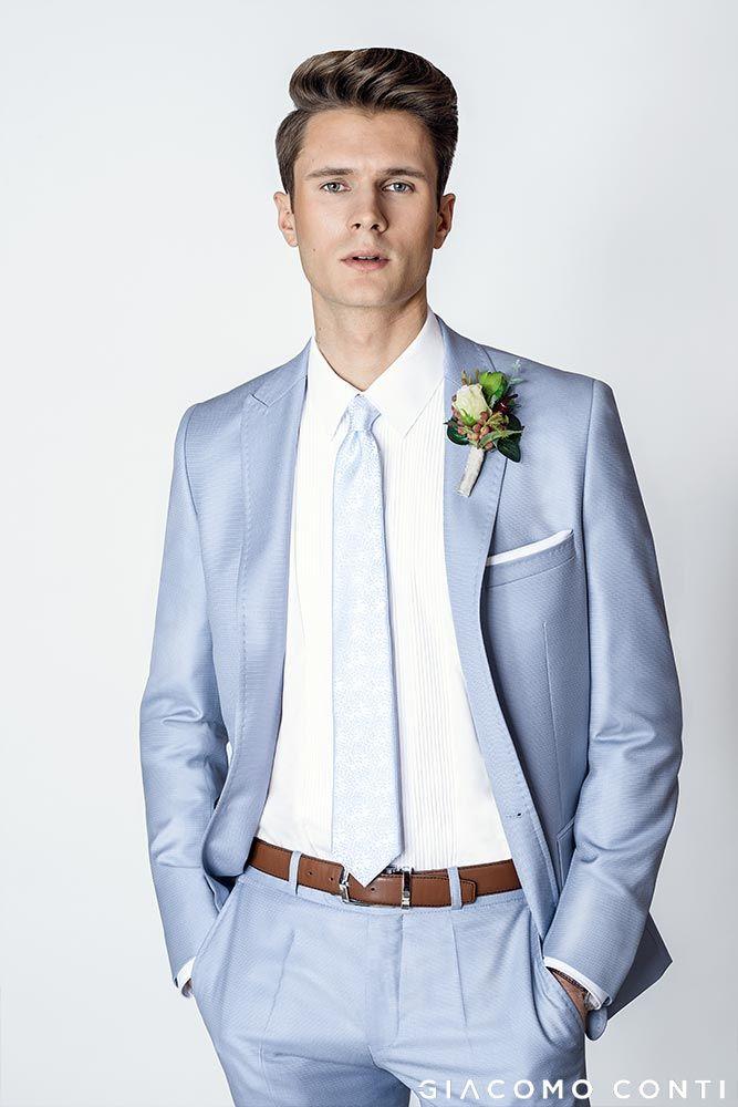 ba3eaf10bfaac Błękitny garnitur ślubny GANS000134 i biała koszula SIMONE KDBS000349