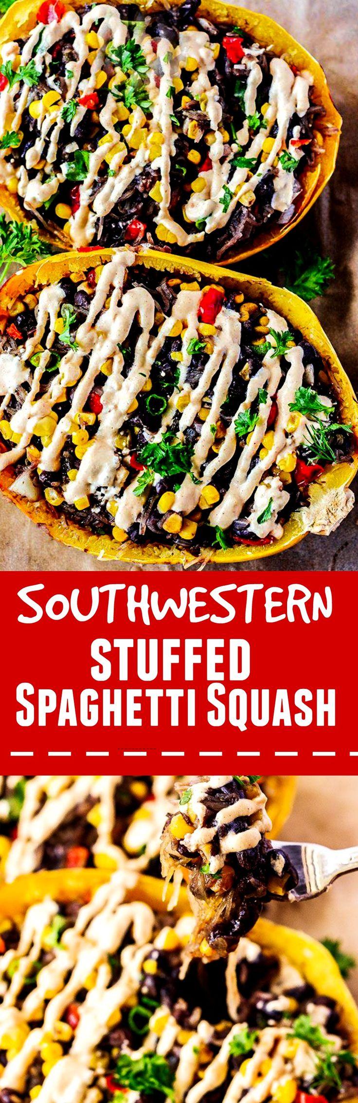 Southwestern Stuffed Spaghetti Squash #vegan gluten free recipes #spaghettisquash #texmexrecipes