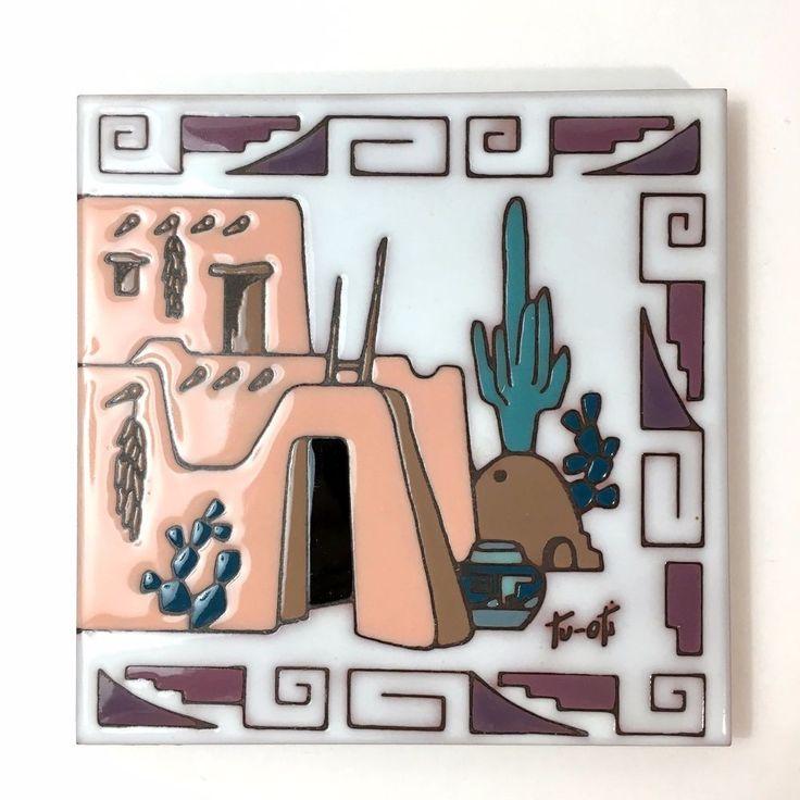 Earthtones Southwestern Ceramic Tile Art Signed Tu-Oti Home Decor or Trivet | eBay