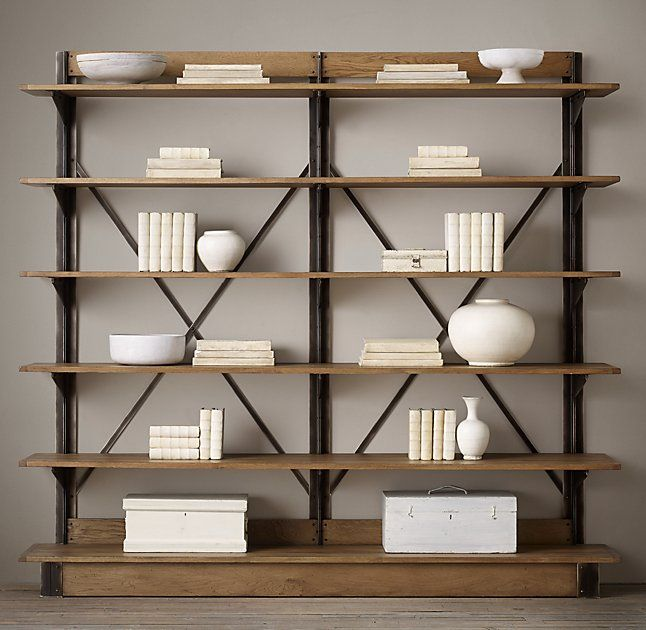 Oak & Iron Cross-Brace Double Shelving