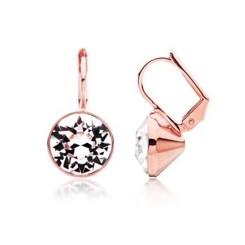 Bella Drop Earrings with Clear Swarovsk® Crystals Rose Gold Plated