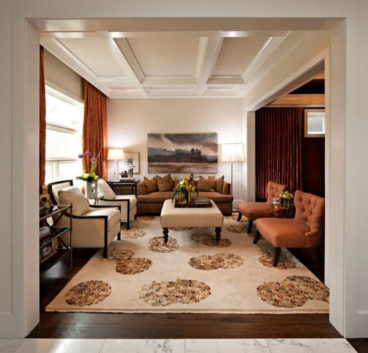 Good Interior Design For Home Part - 45: ... Design With Brown Tufted Leather Accent Chairs And Brown Fabric Sofa  Also White Fabric Armchairs On Transitional Rug Created By Interior Home  Designer ...