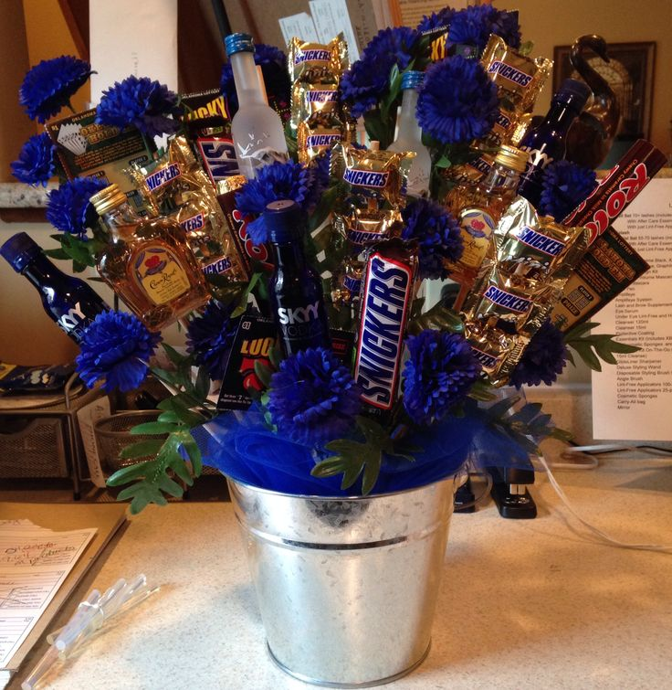 Man bouquet. Birthday, valentines day, anniversary, Father's Day. Crown royal, grey goose, skyy. Snickers and rolo's. Lottery tickets. Perfect gift for any man.