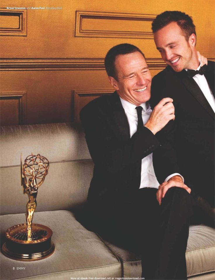 Bryan Cranston and Aaron Paul... You can just tell that these 2 really like and respect each other.