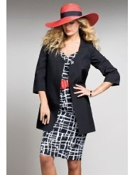 The Best Dressed Plus Size Abstract Print Jacket with Sheath Dress