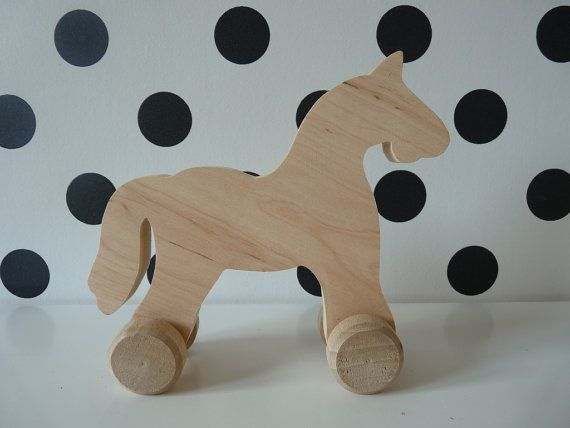 Wooden Horse On Wheels - Wooden Eco Toy - Wood Horse Rolling - Eco Friendly - Wooden Toy - Wooden Pull Toys - Horse Toy - Farm Animal Craft Supplies & Tools  wooden horse  wooden toys  wood horse toy  wheeled wooden horse  rolling animal toy horse on wheels  Horses  unpainted toy  unfinished wood  toy for decoupage  eco toy  wooden horses  toy for diy