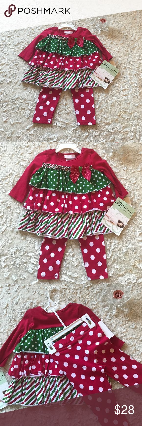 Bonnie baby Girl Holiday Tiered Legging Set 18m New with tags  Original price $40 Bonnie Baby Girl Christmas Holiday Tiered Legging Set Size 18 Months  Two piece holiday Christmas tiered set.  - Soft knit tiered top in holiday colors - Bow accent and matching polka dot leggings  Location : Winter Box Bonnie Jean Matching Sets