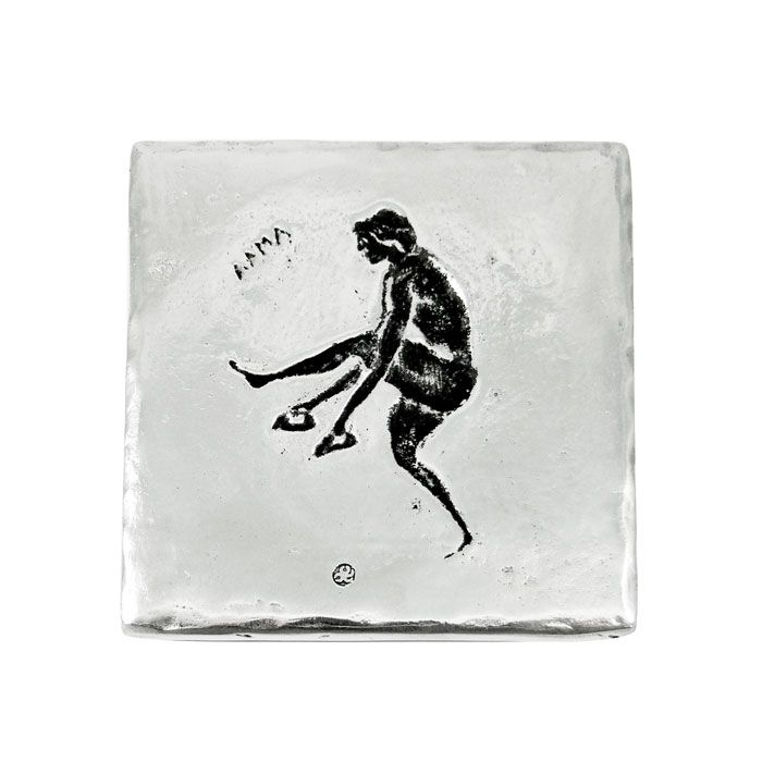 Coaster with the Olympic sport, Long jump. In Ancient Olympia long jump was always a sport feature of the pentathlon. Dimensions: 9,5cm. X 9,5cm. Recycled aluminum.