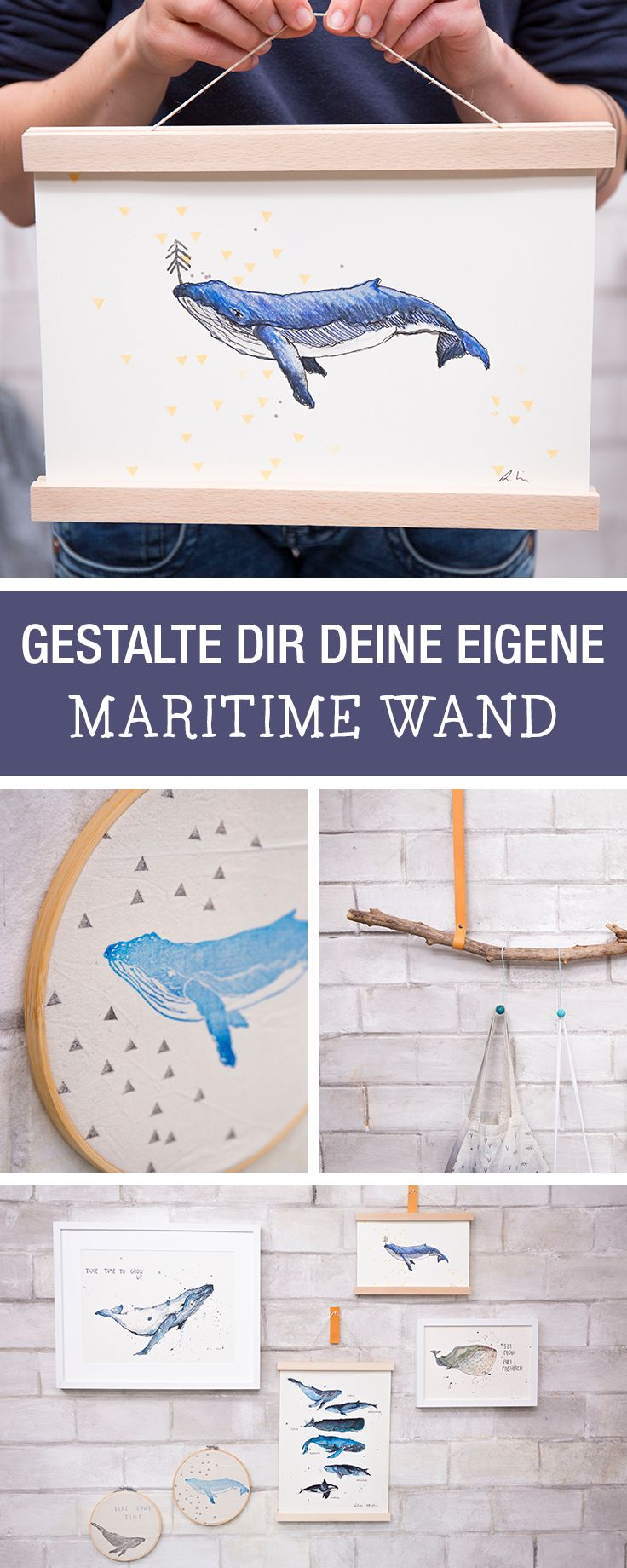 DIY-Anleitung: Ramona von halfbird zeigt Dir, wie Du mit Stempeldruck und Illustrationen Deine eigene maritime Wand gestaltest / how to make stamps with halfbird and tesa via DaWanda.com