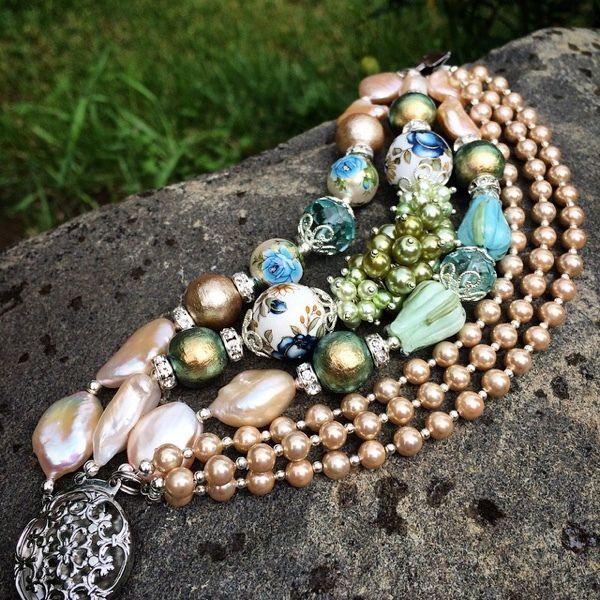 """Купить Браслет """"Нежность уходящего лета"""" - золотой, оливковый, многорядный браслет, жемчуг, браслет с жемчугом"""