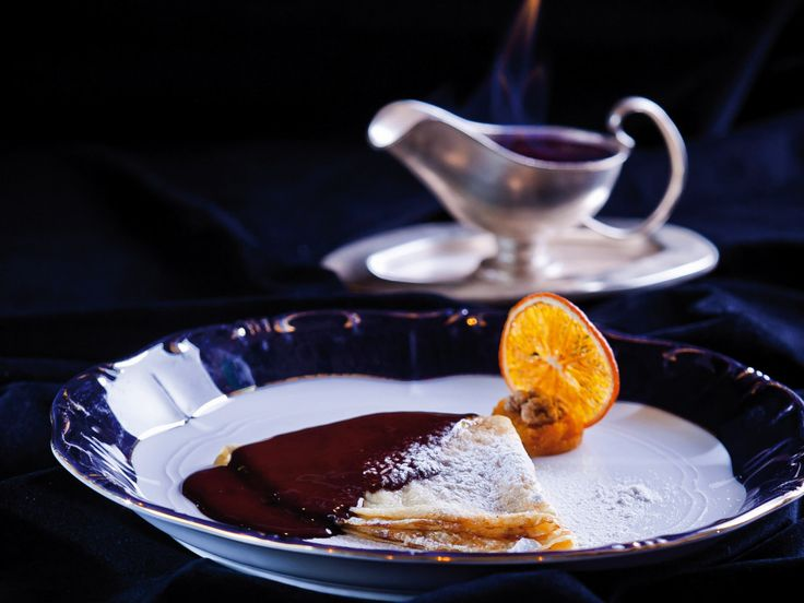 Gundel Pancake - filled with walnut cream, topped with chocolate and cream  http://hungary-special.com/gastronomy.html https://www.facebook.com/HungarySpecial?ref=hl
