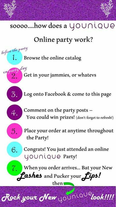 """How does a """"Younique"""" Virtual Party Work?  It's very easy.  Follow these steps and enjoy the party.  Book your party today!  https://www.youniqueproducts.com/kittyballard"""