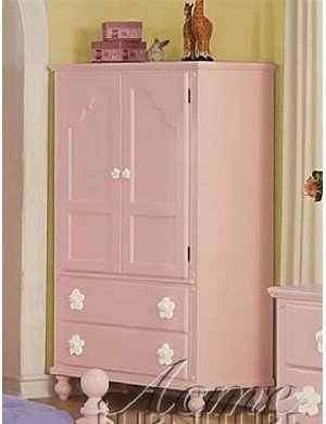 TV Armoire With Flower Drawer Pulls In Pink Finish