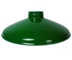 """Green Metal Cone  2 1/4"""" X 10"""" Lamp Shade for Pendant Light. Industrial Style Lighting Replacement Lampshade for Antique, Vintage or Contemporary Pool Table Light Fixture or Hanging Pendant Lamp. Great for Kitchen Islands. Game, Craft or Work Areas, Garage, Barn, Gas Station, Restaurant, or other Commercial Buildings. Anywhere you wish to direct light. Handspun metal, Green Porcelain Enamel Finish."""