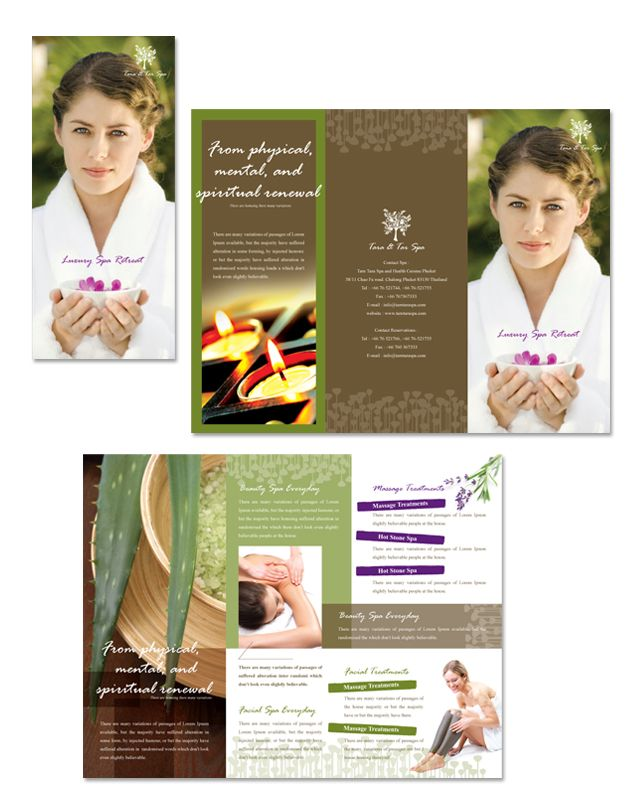 Natural Day Spa & Massage Tri Fold Brochure Template | Spa Ideas
