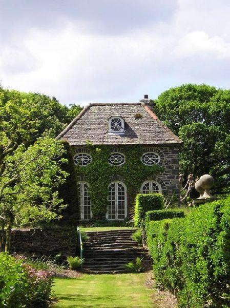Plas Brondanw Orangery in Wales. Summerhouse in the garden  of Portmeirion architect Clough Williams-Ellis house.  Photo by Gareth Hughes