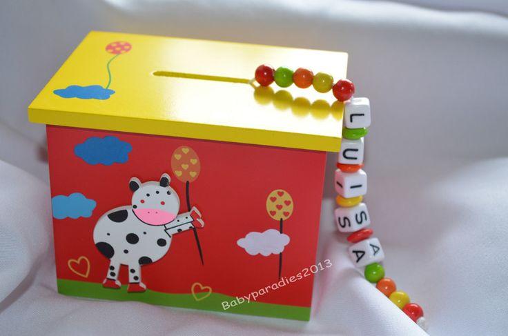 Dosen & Schachteln - Spardose mit Namen, rot - ein Designerstück von Babyparadies2013 bei DaWanda