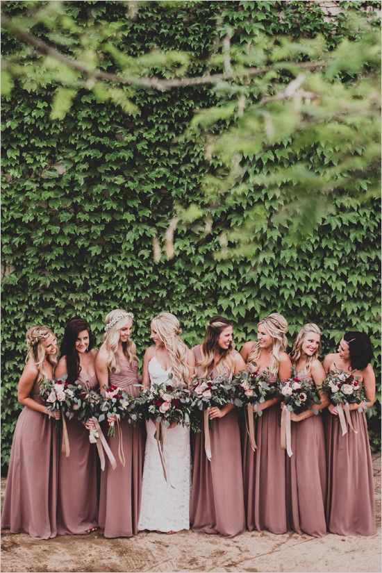 Rose pink bridesmaids