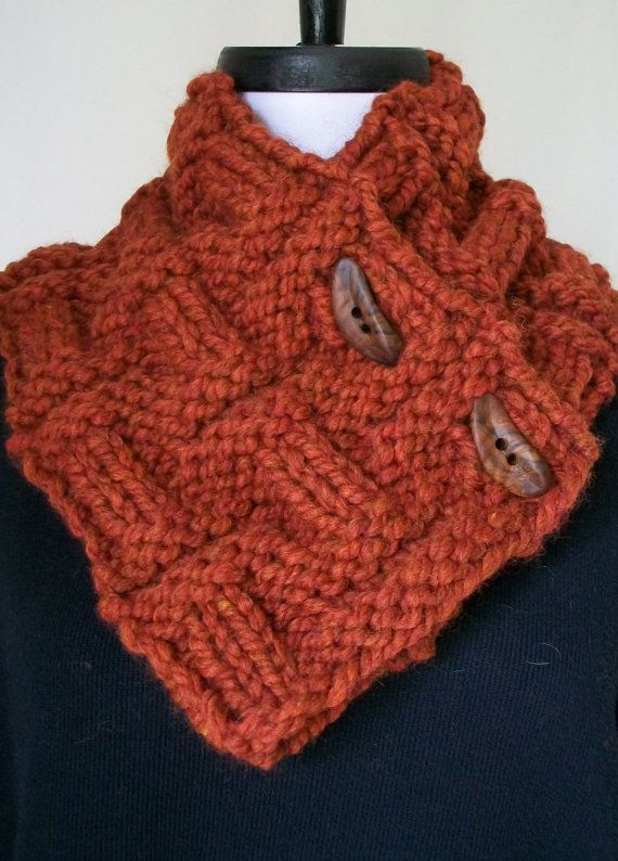 Hand Knit Burnt Orange Chunky Neckwarmer Neck Warmer Cowl