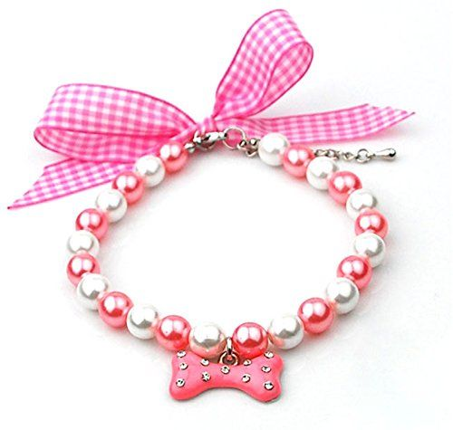 """SMALLLEE_LUCKY_STORE 9.5""""-11.5"""" Pet Puppy Dog Cat Rhinestone Bone Charm Necklace, Small, Pink * Check this useful article by going to the link at the image."""