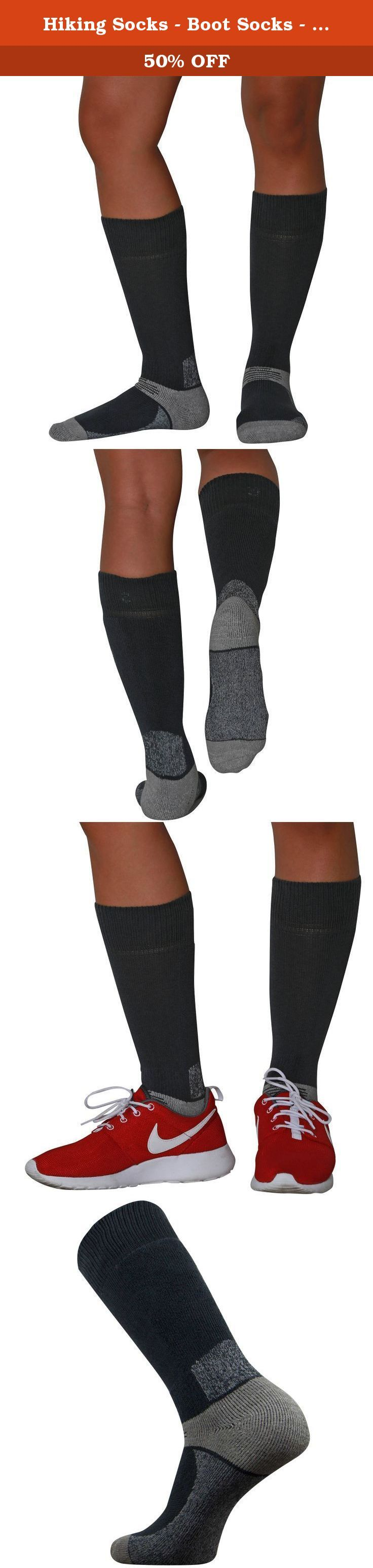 Hiking Socks - Boot Socks - Great for Camping, Outdoors, Hunting, Cold Weather, and Snow (Black, Small). The Pure Athlete hiking socks are the best hiking socks available. Made of ultra-soft material, the boot socks offer superior comfort. The socks don't slide into boots thanks to a no-slip cuff located at the top of the hiking socks. The socks fit great with hiking boots. They help to keep feet warm without overheating thanks the breathable material. What are the hiking socks good for?…