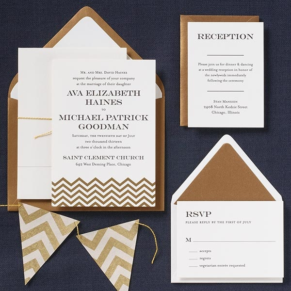 Gold Chevrons wedding invitations suite from PAPER SOURCE