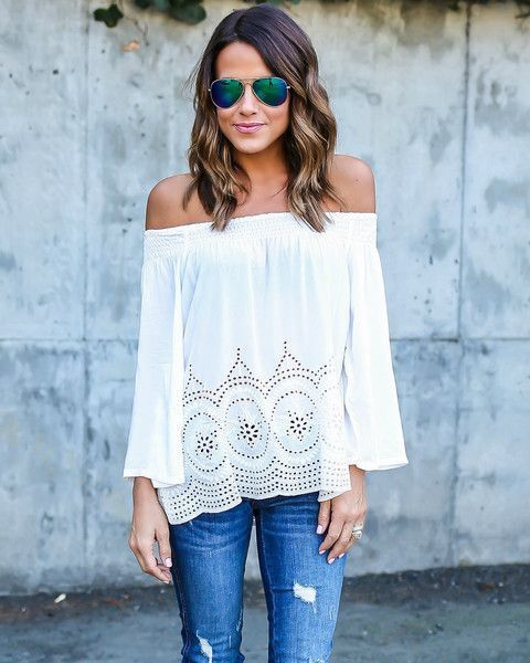 awesome Stitch fix fashion trends 2016 White off the shoulder cutout top! Boho...