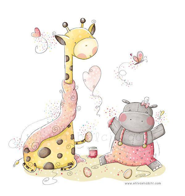 Giraffa e bambini illustrazione - Nursery - carino bambino hippo di ShivaIllustrations su Etsy https://www.etsy.com/it/listing/152397654/giraffa-e-bambini-illustrazione-nursery