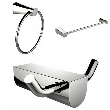 Modern Towel Ring With Single Rod Towel Rack And Robe Hook Accessory Set, Silver