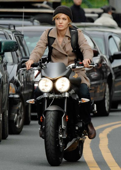 Angelina Jolie on a Triumph Speed Triple