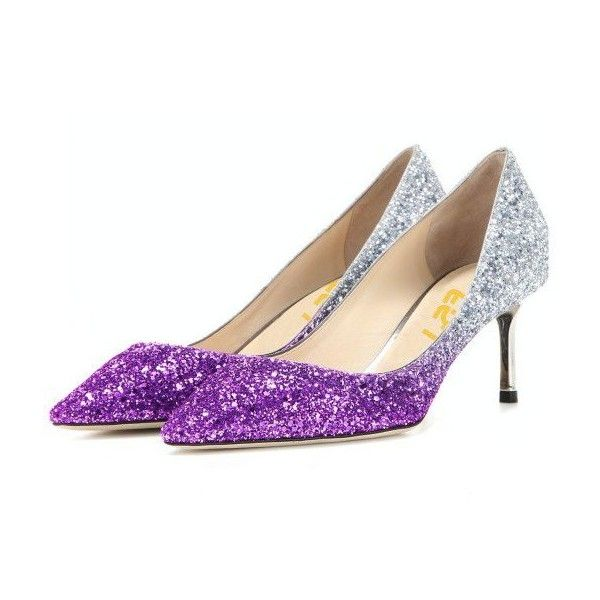 Women's Purple and Silver Gradient Color Bridal Heels Kitten Heels... ($110) ❤ liked on Polyvore featuring shoes, pumps, evening shoes, silver shoes, kitten heel wedding shoes, purple pumps and silver wedding shoes